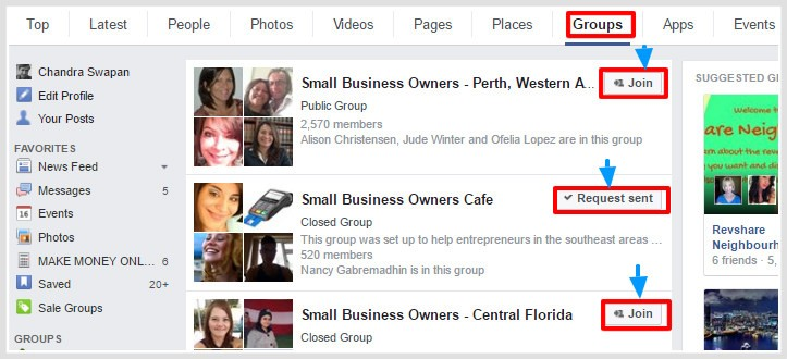 Facebook message marketing from active groups.