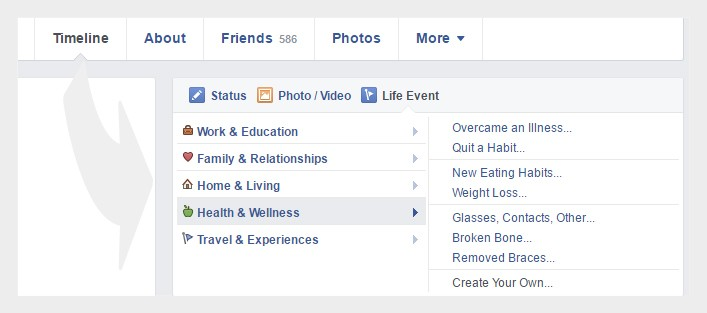 Facebook life events
