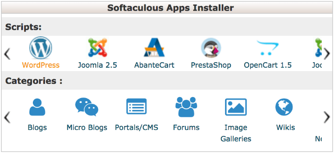 softaculous for wordpress