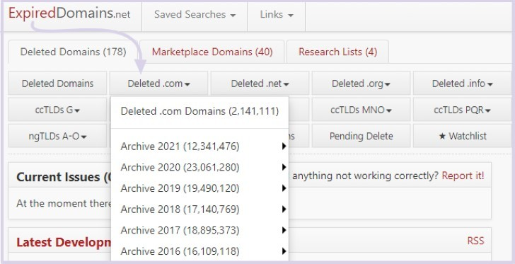 expired domain name search